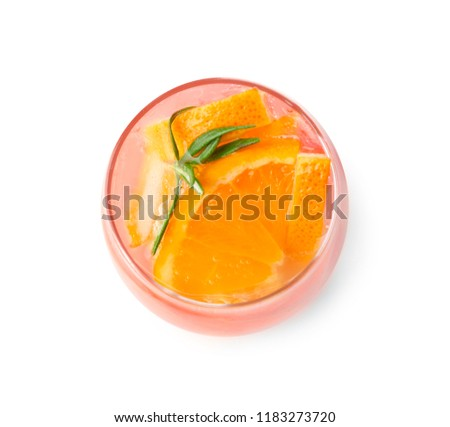 Fresh summer cocktail in glass on white background #1183273720