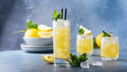 Fresh summer cocktail with lemons, mint and ice, selective focus image and slider format