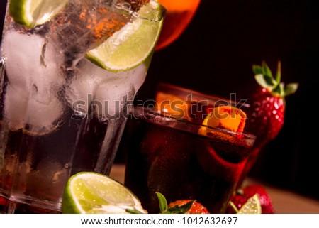 Fresh Summer Cocktails / Gin tonic / lime / strawberry / orange  #1042632697