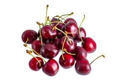 Fresh summer dark red sweet cherry isolated