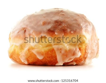 Fresh sweet doughnut isolated on white. Berliner with icing sugar Zdjęcia stock ©