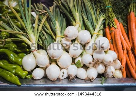 Fresh sweet onions. Onions background. Ripe onions. Onions in market #1493444318