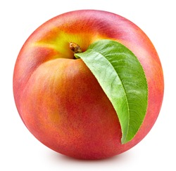Fresh sweet peach with green leaf isolated on white background. Peach clipping path