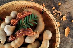 fresh sweet ripe tamarind with leaf, healthy fruit