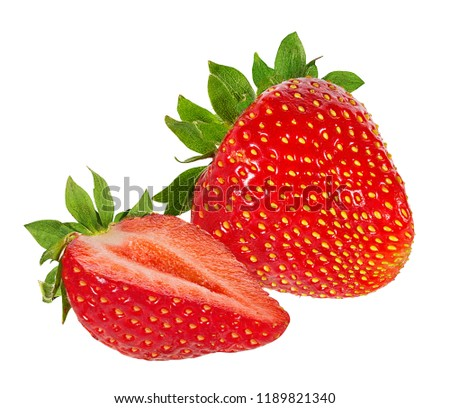 Fresh sweet strawberry isolated on white background with clipping path