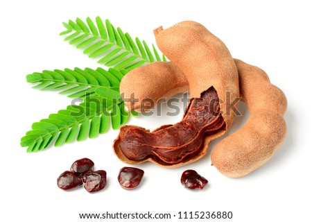 fresh tamarind fruits and leaves isolated on white