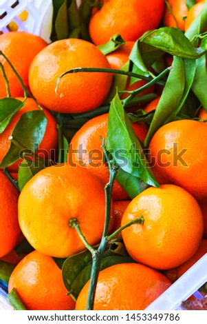 Fresh tangerine clementine with green leaves. Tangerines in a box in the supermarket #1453349786