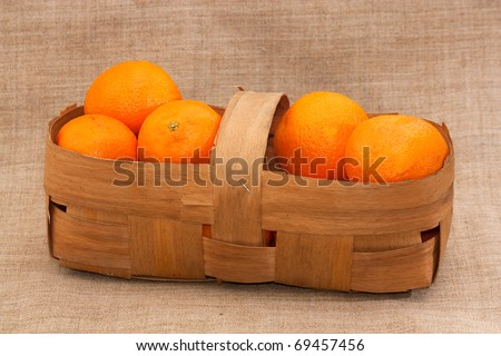 fresh tangerines in a basket on burlap background