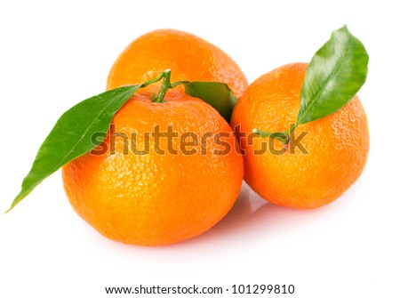 fresh tangerines with leaves isolated on white background - stock photo