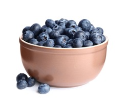 Fresh tasty blueberry in bowl isolated on white