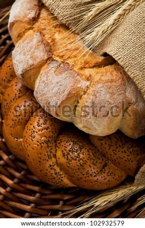 Fresh tasty bread (kalatches) close up