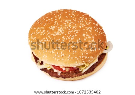 Fresh tasty burger with cheese isolated on white background. Fast food Cheeseburger. #1072535402