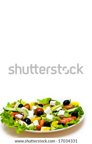 fresh, tasty, greek salad over white