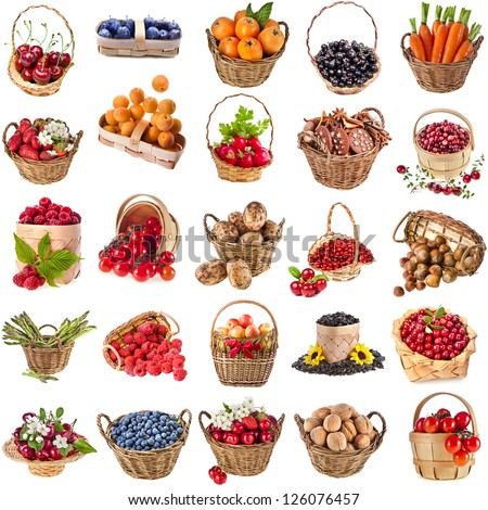 Fresh tasty healthy fruits, vegetables, berries, nuts in a wicker basket ,collection set  isolated on a white background - stock photo