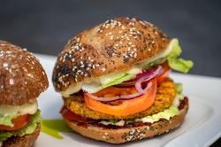 Fresh tasty meat free vegetarian burger made from organic ingredients close up
