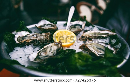 fresh tasty oysters with a slice of lemon on a platter