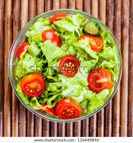 Fresh tasty salad, vegetarian food ... - stock photo