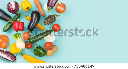 Fresh tasty vegetables falling and blank copy space, healthy food banner #758486149