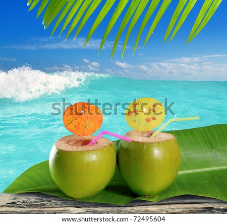 fresh tender green coconuts straw cocktails on tropical caribbean beach [Photo Illustration]
