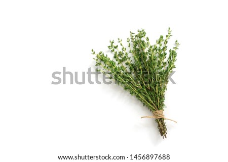Fresh thyme herb on white background. Bouquet of thyme isolated. View from above Stock photo ©