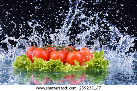 Fresh tomato cherry and green fresh salad with water drop splash on dark background Macro drops of water fall on the red cherry tomatoes and make splash