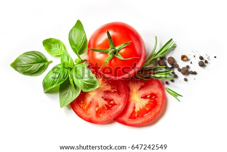 fresh tomato, herbs and spices isolated on white background, top view #647242549