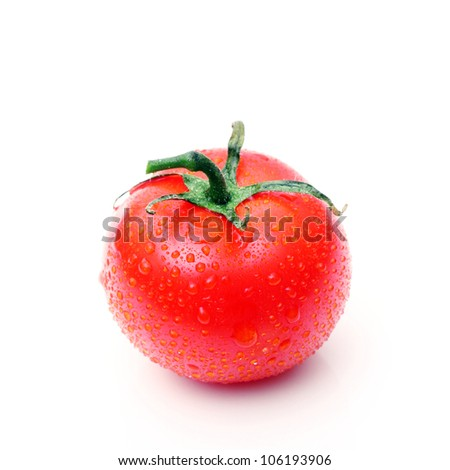 fresh tomato on white, with drops of water