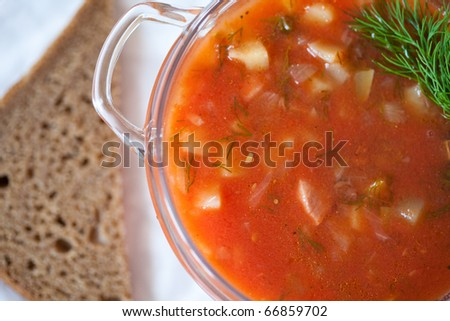 Fresh tomato soup in bowl close up. Minestrone