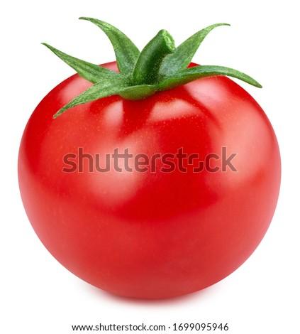 Fresh tomato vegetable. Tomato isolated on white background. Tomato with clipping path.