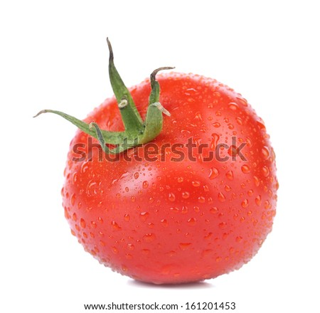 Fresh tomato with water drops. Isolated on a white background.