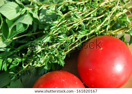 Fresh tomatoes and bunches of herbs.