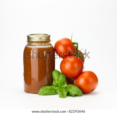 Fresh tomatoes basil and homemade tomato sauce