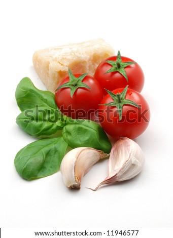 Fresh tomatoes, basil, garlic and parmesan cheese