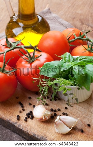 Fresh tomatoes, basil, thyme and olive- still life #64343422