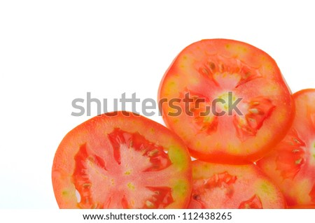 Fresh tomatoes slices isolated on white background