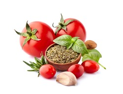 Fresh tomatoes  with  rosemary, basil and garlic isolated on white background. Tomatoes with spices.