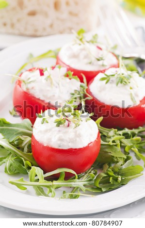 Fresh tomatos with ricotta filling