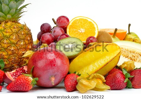 fresh tropical fruits #102629522