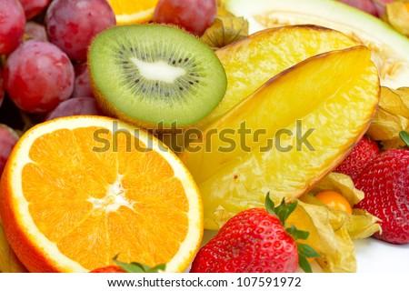 fresh tropical fruits #107591972