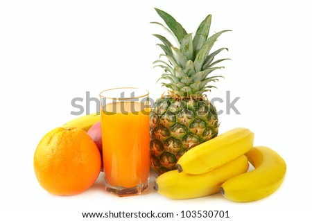 fresh tropical fruits: banana, mango,  pineapple isolated on white background with juice