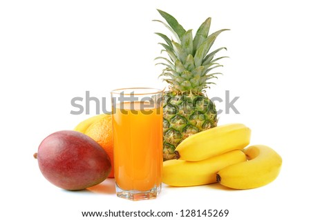 fresh tropical fruits: banana, mango,  pineapple isolated on white background with juice