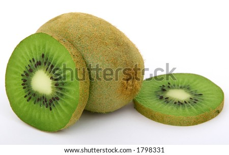 Fresh tropical green kiwi fruit, macro closeup, isolated on white, close-up with copyspace