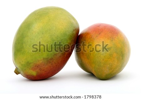 Fresh tropical green mango fruit, macro closeup, isolated on white, close-up with copyspace