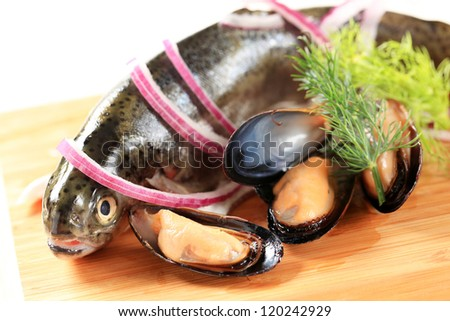 Fresh trout and clams