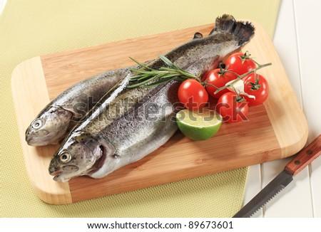 Fresh trout on a cutting board