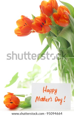 Fresh tulip with gift card, Happy mother\'s day.