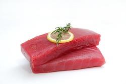 Fresh Tuna Fish Steak on a white background