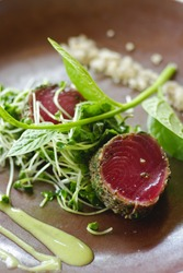Fresh tuna meat sliced on ceramic dish