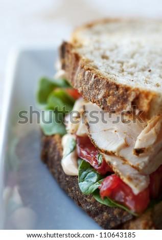 Fresh turkey and vegetable sandwich on rustic whole grain bread