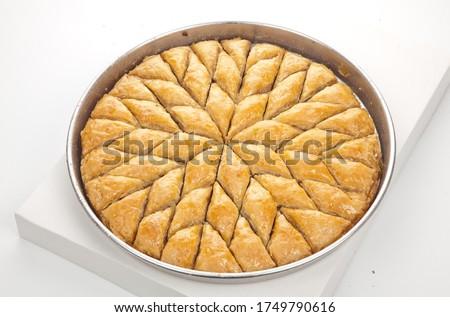 Fresh Turkish Baklava in the baking tray Stok fotoğraf ©